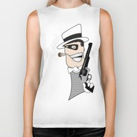 western Biker Tanks featuring Western Mobster by Grime Lab