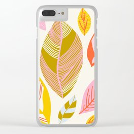 Timberlee, modern autumn leaves Clear iPhone Case