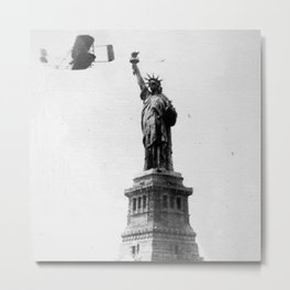 1909 Wilbur Wright, of Wright brothers fame, flies a Wright Type A plane by the Statue of Liberty black and white photograph Metal Print