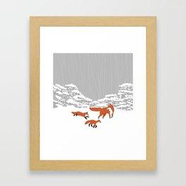 Foxes - Winter forest Framed Art Print