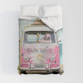 Pug Girly Adventure Peace Comforters