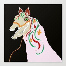 Horse head skull of Mari Lwyd celebration Wales good luck Canvas Print