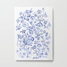 Porcelain Floral in Blue Metal Print