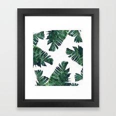 Banana Leaf Watercolor Pattern #society6 Framed Art Print