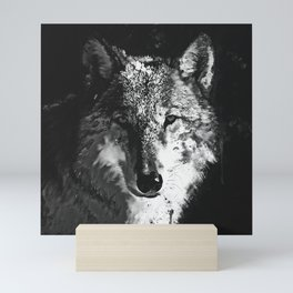 wolf splatter watercolor dark black white Mini Art Print