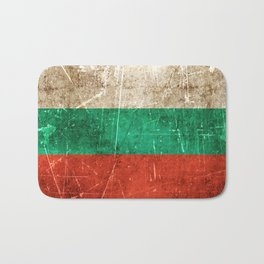 Vintage Aged and Scratched Bulgarian Flag Bath Mat