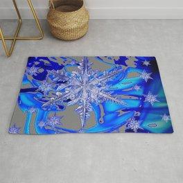 MODERN ROYAL BLUE WINTER SNOWFLAKES GREY ART Rug