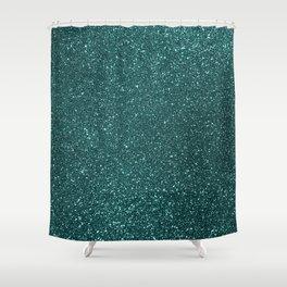 Deep Aqua BlueTurquoise Glitter Shower Curtain