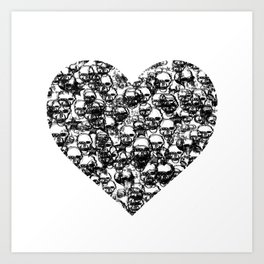 Skull Black Heart Art Print