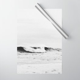 Minimalist Black and White Ocean Wave Photograph Wrapping Paper