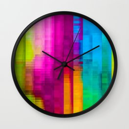 Vertical Rainbow Color Palette Wall Clock