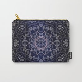 Glowing Nirvana Mandala On Deep Blue Textured Background Carry-All Pouch