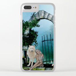 Wonderful fairy with white wolf Clear iPhone Case