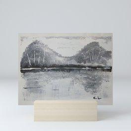 Black & White Mountains Mini Art Print
