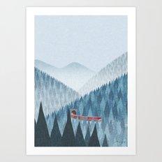 Train in the mist Art Print