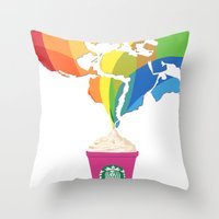 starbucks Throw Pillows featuring Starbucks Pop Art by Tiffany Taimoorazy