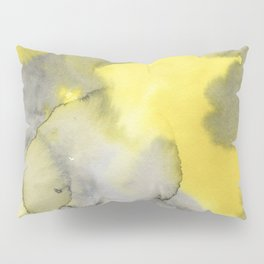 Hand painted gray yellow abstract watercolor pattern Pillow Sham
