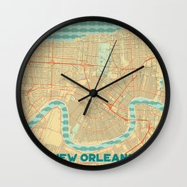 New Orleans Map Retro Wall Clock