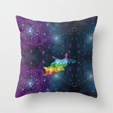 Rainbow Kitty Floating in Space Throw Pillow