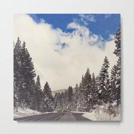 Snowy Road Trip Metal Print