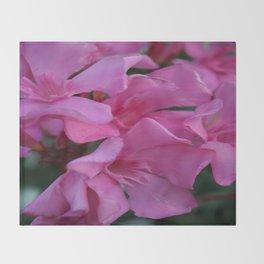 Closeup Shot of Pink Flowers on Oleander Shrub Throw Blanket
