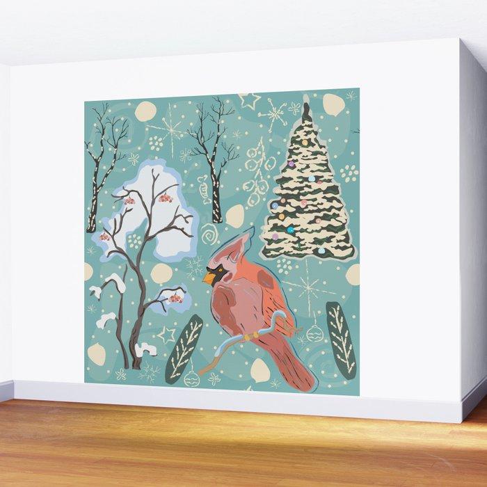 Red Bird Wall Mural