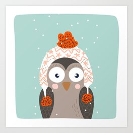 Owl Under Snow in the Christmas Time. Art Print