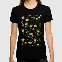 Bees and ladybugs. Gold and black T-shirt