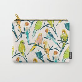BOUNTIFUL BUDGIES Watercolor Parakeets Cream Carry-All Pouch