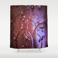 jewish Shower Curtains featuring Red Glass Bubbles by Brown Eyed Lady