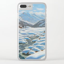CHOULTSÉ, IVAN FEDEROVICH (St. Petersburg 1874 - 1939 Nice) Snowy winter landscape in the mountains Clear iPhone Case
