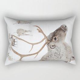 Reindeer With Antlers Art Print | Tromsø Norway Animal Snow Photo | Arctic Winter Travel Photography Rectangular Pillow