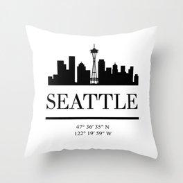 SEATTLE WASHINGTON BLACK SILHOUETTE SKYLINE ART Throw Pillow