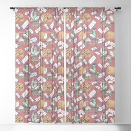 Pigeons Express (Rust Red Background) Sheer Curtain