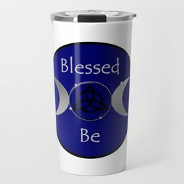 Blessed Be Triquetra Triple Moon Wicca Blue Travel Mug