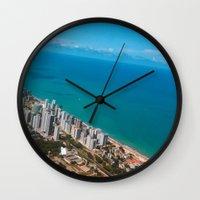 brazil Wall Clocks featuring Brazil Beach by Mauricio Santana