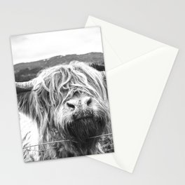 Highland Cow Nose Barbed Wire Fence Black and White Stationery Cards