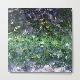 Rough cut emerald and amethyst Metal Print