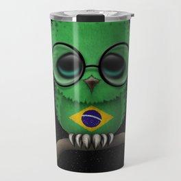 Baby Owl with Glasses and Brazilian Flag Travel Mug