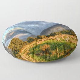 New Zealand South Island Landscape With Sheep Panorama Floor Pillow