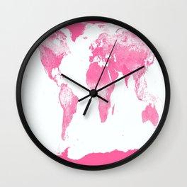 world mAp Pink Wall Clock