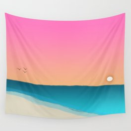 Beach Sunset with birds 2 Wall Tapestry