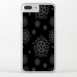 Anti Possession Pattern White Glow Clear iPhone Case