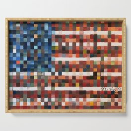 American Flag in Pixels Serving Tray