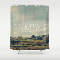 backpack Shower Curtains featuring Let's Run Away by Leah Flores
