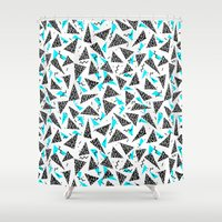 80s Shower Curtains featuring Missy - 80s Retro, Throwback Memphis Inspired Design by CharlotteWinter