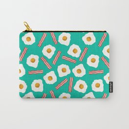 eggs and bacon breakfast food fight apparel and gifts teal Carry-All Pouch