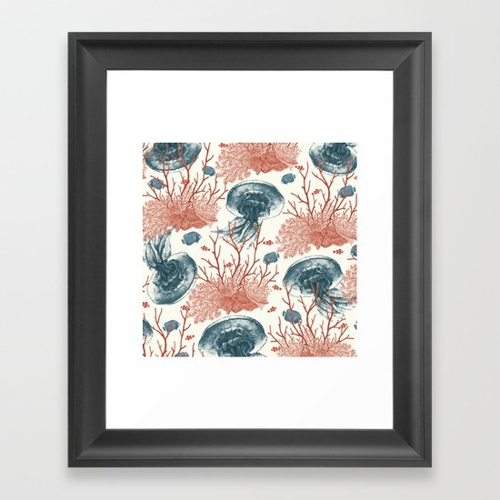 Aquatic Pattern Framed Art Print