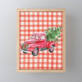 Red Christmas Truck Framed Mini Art Print