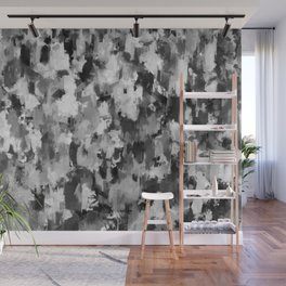 black and white pattern - paint brush design Wall Mural